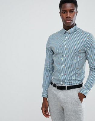 Image 1 of ASOS DESIGN smart slim stripe work shirt with embroidery