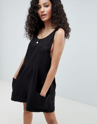 Image 1 of ASOS DESIGN Smock Playsuit With Tie Shoulder