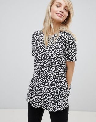 ASOS DESIGN Smock Top With Ruffle Hem In Mono Animal Print