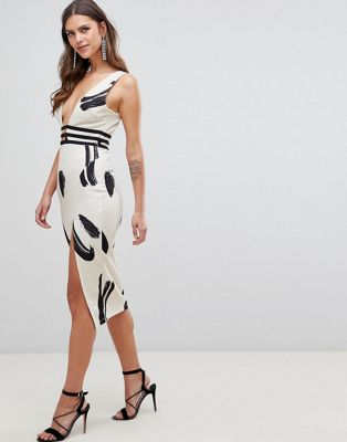 ASOS DESIGN smudge print plunge bodycon dress