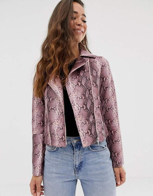 Image 1 of ASOS DESIGN snake biker jacket