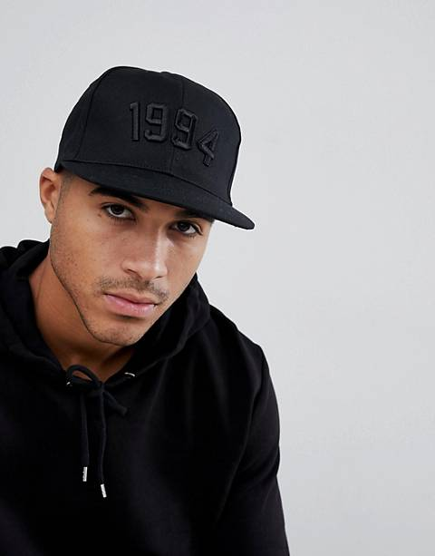 ASOS DESIGN snapback in black with 1994 embroidery