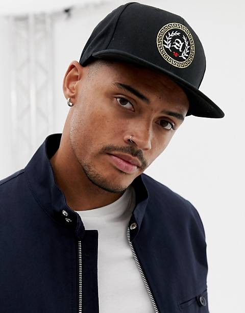 ASOS DESIGN snapback in black with gold embroidery