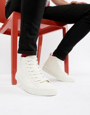 ASOS DESIGN - Sneakers alte bianche con suola effetto para