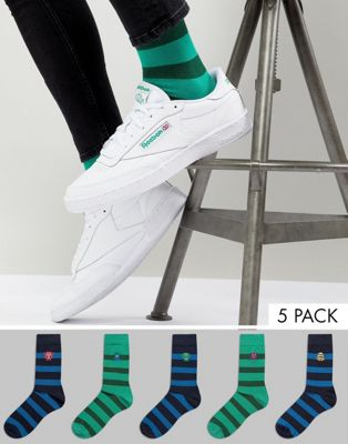ASOS DESIGN Socks With Monster Stripe Design 5 Pack