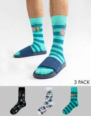 ASOS DESIGN Socks With Watermelon & Palm Tree Design 3 Pack