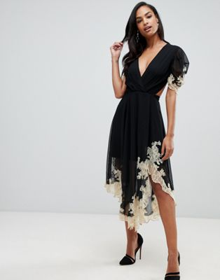 ASOS DESIGN soft midi dress with lace inserts
