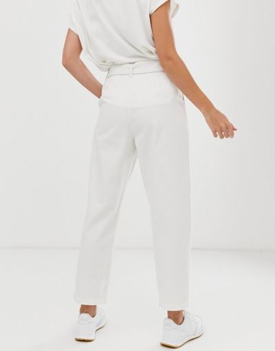 ASOS DESIGN soft peg lightweight jeans with self belt in white