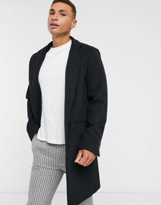 ASOS DESIGN - Sort overfrakke i uldblanding med indadvendt krave