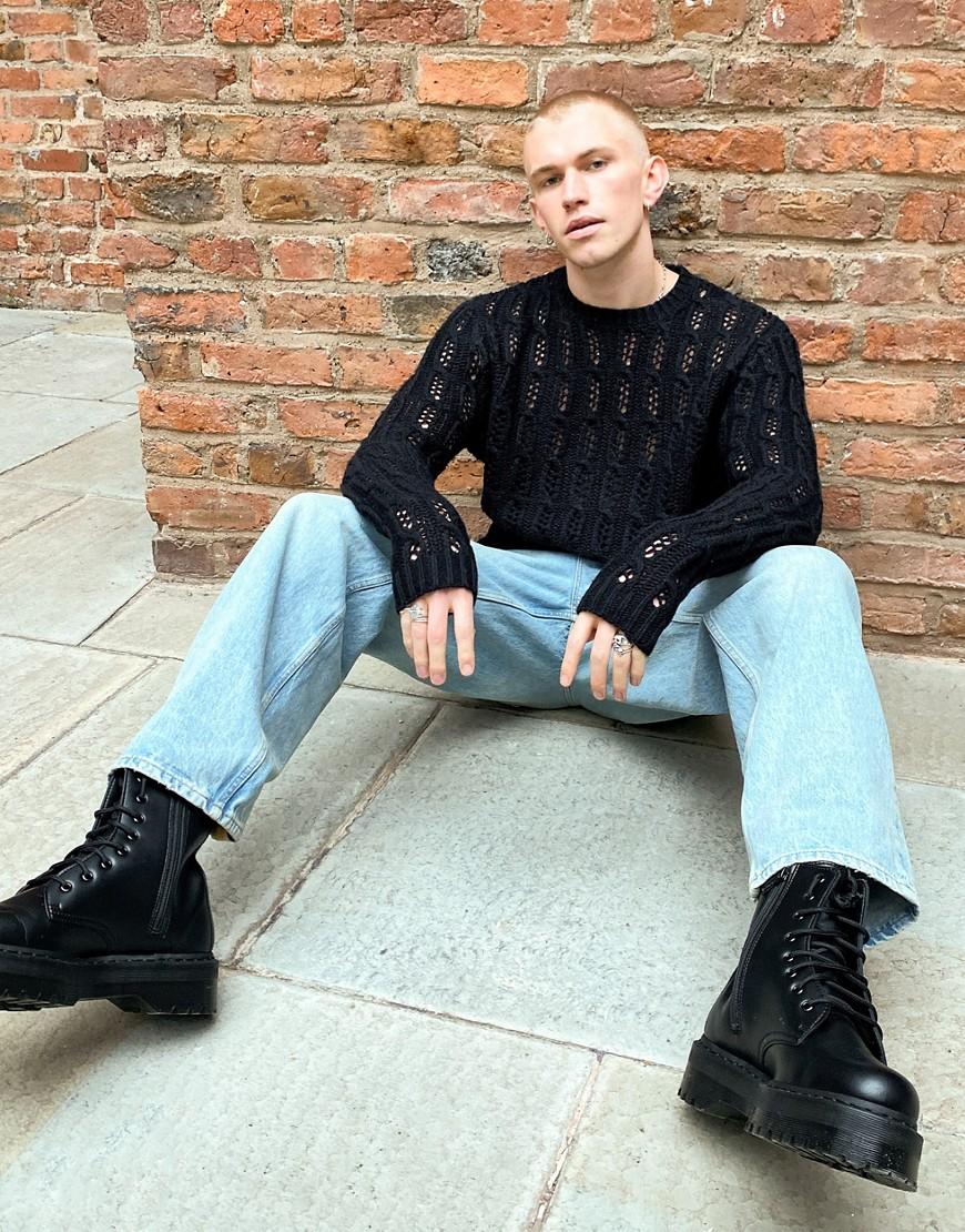 ASOS DESIGN - Sort trøje i strikket tekstur med pointelle-sting