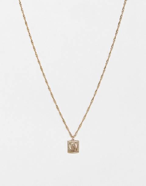 ASOS DESIGN sovereign medallion necklace in gold tone