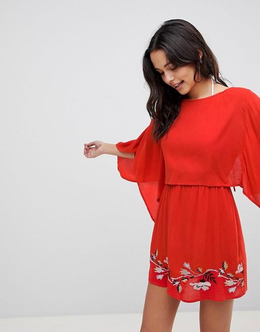 Image 1 of ASOS DESIGN Split Back Embroidered Beach Dress