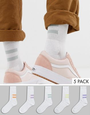 Image 1 of ASOS DESIGN sport socks in white with back placement print stripes 5 pack
