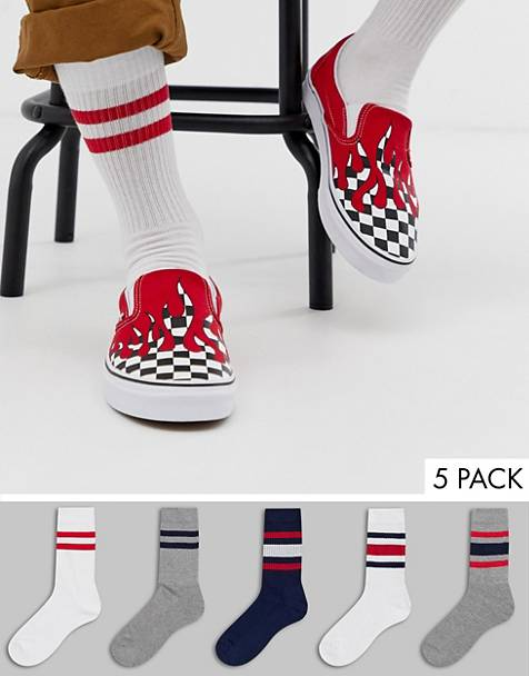 ASOS DESIGN sports socks with heritage colors stripes 5 pack multipack saving