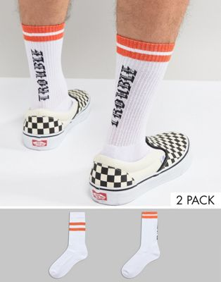 ASOS DESIGN Sports Socks With Trouble Slogan 2 Pack
