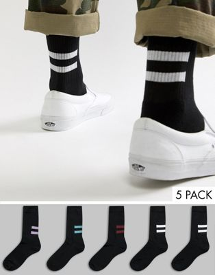 ASOS DESIGN sports style socks in black with half stripes 5 pack