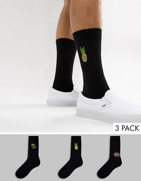 ASOS DESIGN sports style socks in black with neon embroidery 3 pack