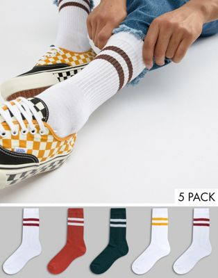 ASOS DESIGN sports style socks in heritage colours 5 pack
