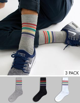 ASOS DESIGN sports style socks with glitter rainbow stripes 3 pack
