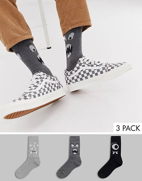ASOS DESIGN sports style socks with monster faces 3 pack