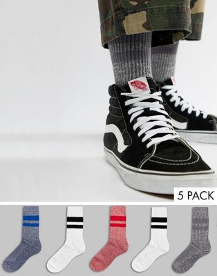ASOS DESIGN sports style socks with twist details 5 pack