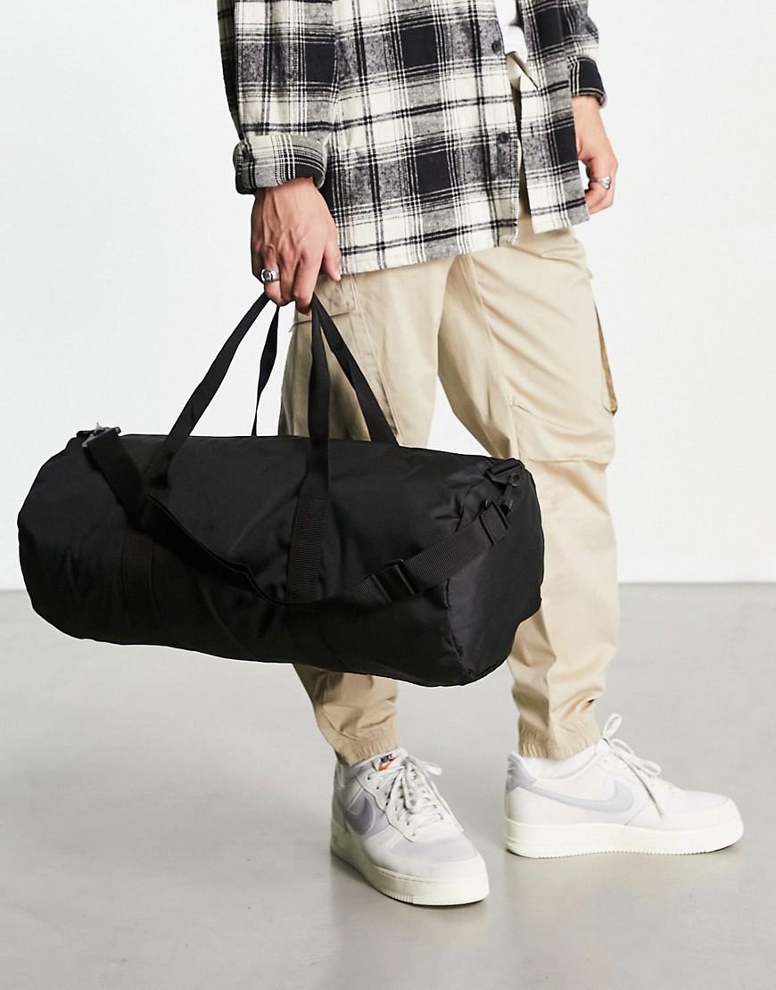 asos design -  – Sporttasche aus Nylon in Schwarz mit kontrastierendem Reißverschlusszieher