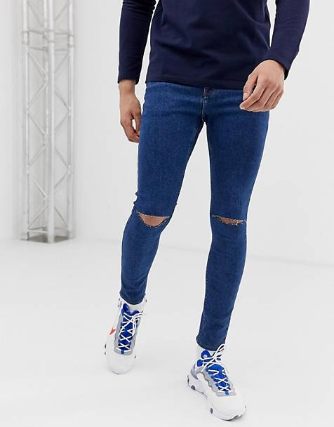 ASOS DESIGN spray on jeans in powerstretch open end blue with knee rips