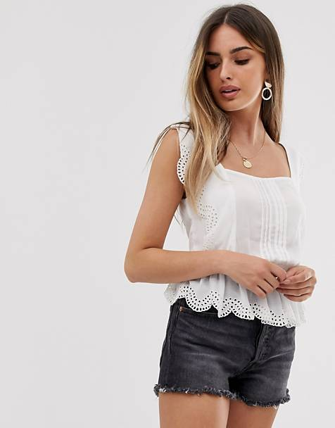ASOS DESIGN square neck top with ruffle broderie