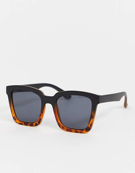 ASOS DESIGN square sunglasses with tort fade