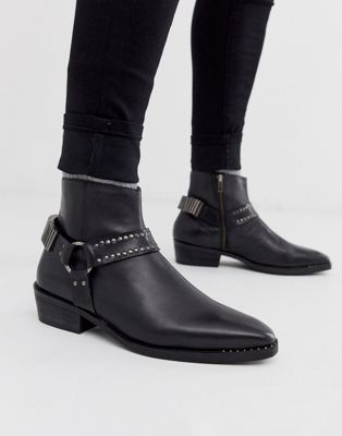 ASOS DESIGN stacked heel western chelsea boots in black leather with studding and hardware detail
