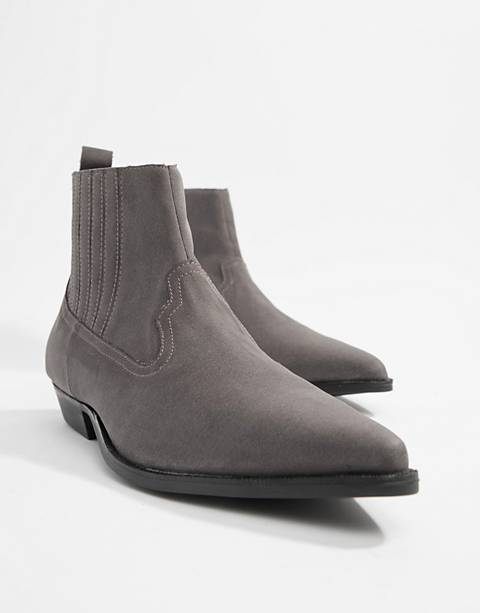 ASOS DESIGN stacked heel western chelsea boots in gray faux suede