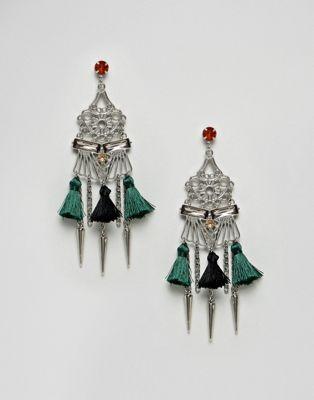 ASOS DESIGN Statement Cut Out Pom Chandelier Earrings