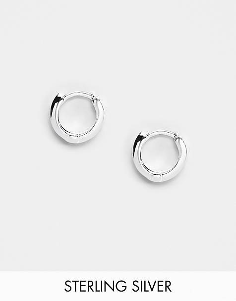 ASOS DESIGN sterling silver huggie hinged hoop earrings