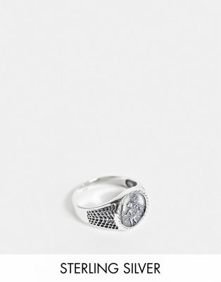 ASOS DESIGN sterling silver sovereign ring with St Christopher