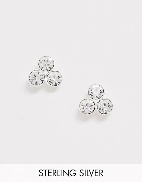 ASOS DESIGN sterling silver stud earrings with crystal cluster