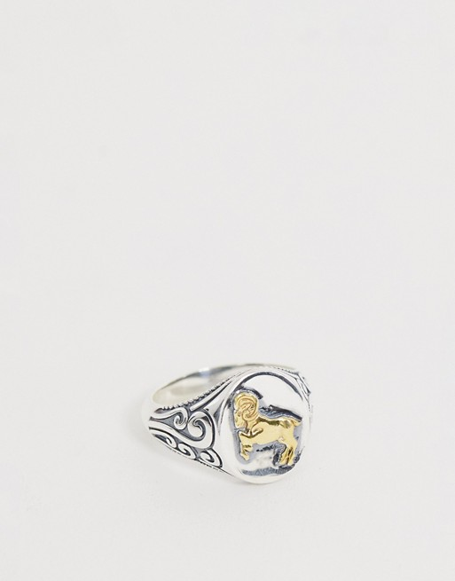 ASOS DESIGN sterling silver vintage style signet ring in burnished silver with gold plate ram