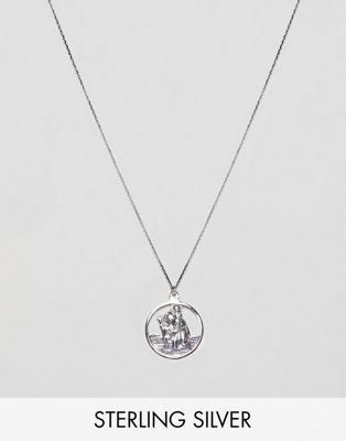 ASOS DESIGN sterling silver vintage style st. christopher cut out pendant necklace