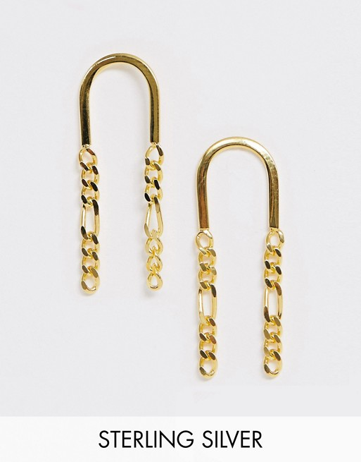 ASOS DESIGN sterling silver with gold plate earrings with chain link strands