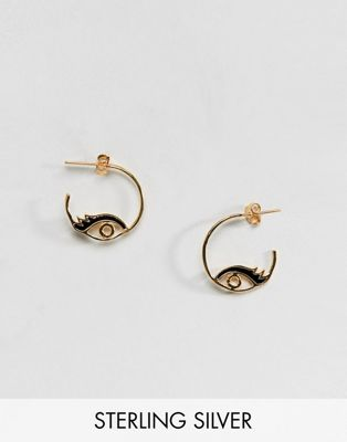 ASOS DESIGN Sterling silver with gold plate hoop earring in enamel eye design