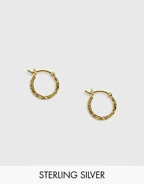 ASOS DESIGN sterling silver with gold plate hoop earrings in hammered metal