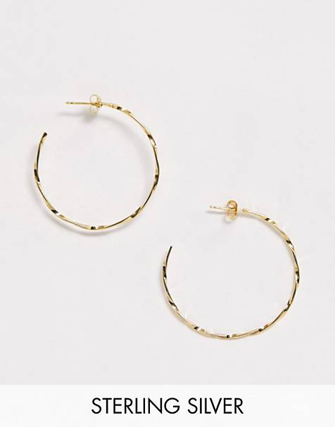 ASOS DESIGN sterling silver with gold plate hoop earrings in twist design