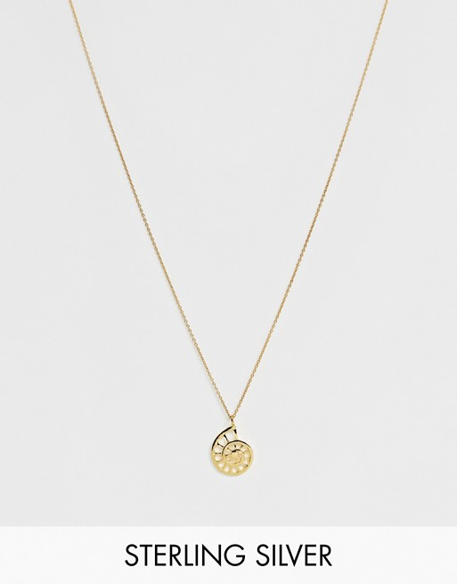 Image 1 of ASOS DESIGN sterling silver with gold plate necklace with shell pendant