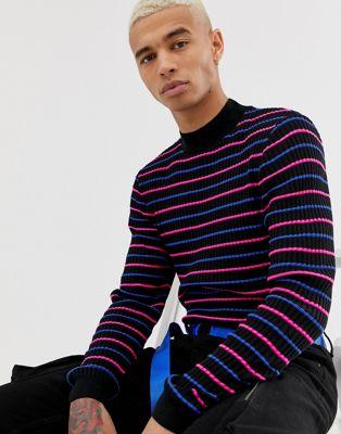 Bild 1 av ASOS DESIGN – Stickad tröja med halvpolokrage och neonränder