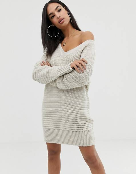 ASOS DESIGN stitch detail knitted mini dress with off shoulder
