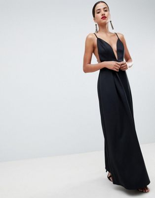 ASOS DESIGN strappy plunge maxi prom dress with open back
