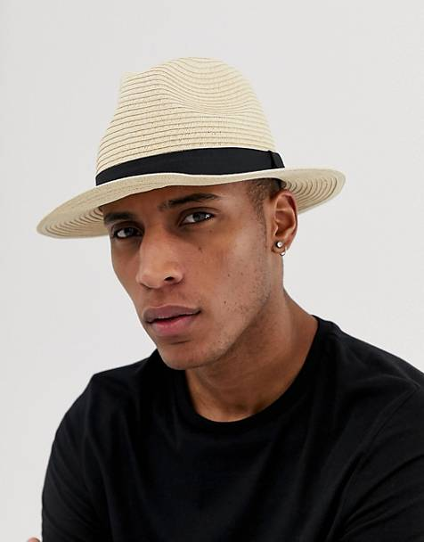 ASOS DESIGN straw fedora hat in beige