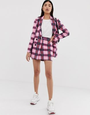 Image 1 of ASOS DESIGN strawberry check suit mini skirt