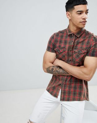 ASOS DESIGN Strech Slim Western Check Shirt With Acid Wash