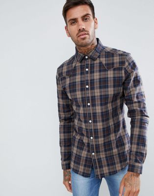 ASOS DESIGN stretch slim check western shirt in brown