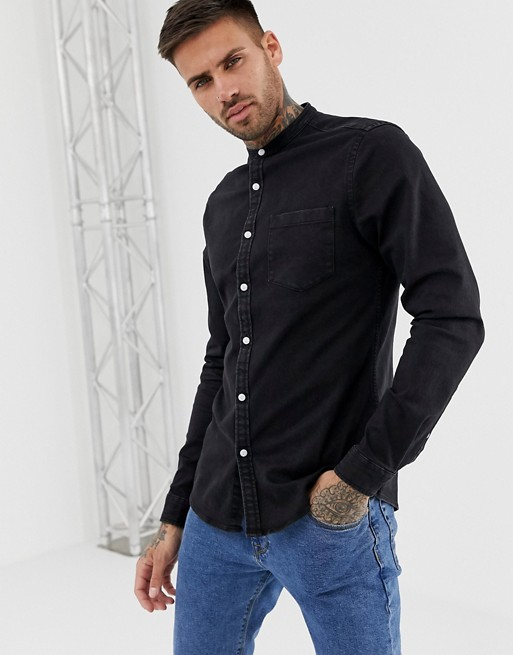 ASOS DESIGN stretch slim denim shirt in black with grandad collar